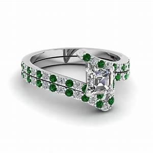 zig zag set fascinating diamonds With emerald wedding ring set