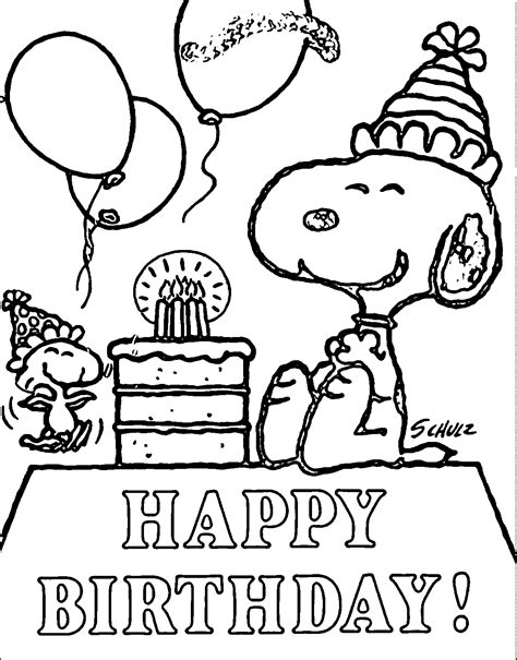 snoopy happy birthday quote coloring page  pins