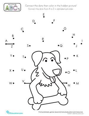 alphabet dot  dot dog house worksheet educationcom