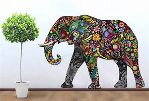 Colorful elephant floral sticker wall print art for Elephant wall art