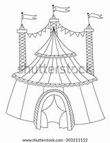 Circus Tent Line Coloring Raster Shutterstock Version sketch template