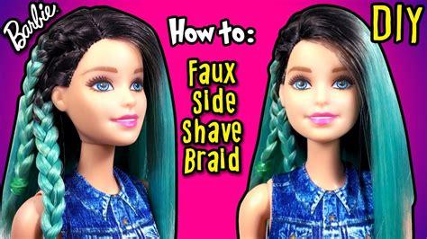 diy how to make fake half shaved hair barbie doll