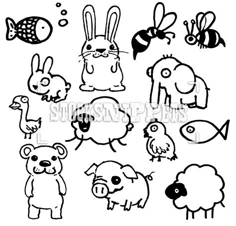 Cute Drawings Of Animals Line Art Animal - Litle Pups