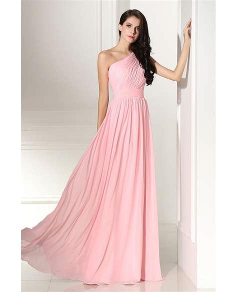 Simple Elegant Pleated One Shoulder Pink Formal Dress #LG0304 - GemGrace.com