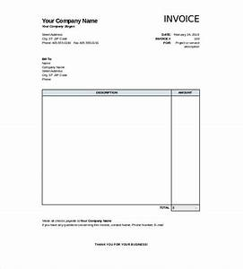 simple template of blank invoice with table of description With simple blank invoice
