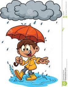 Rain with Umbrella Clip Art