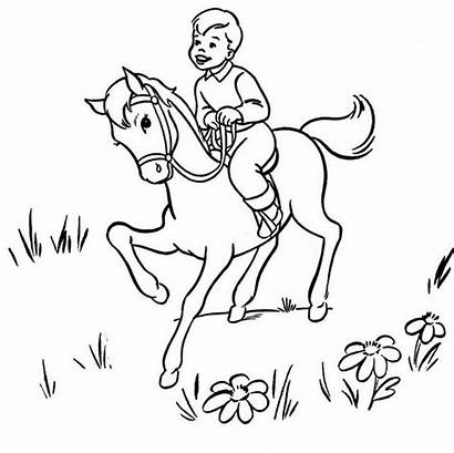Coloring Horse Boy Riding Pages Boys