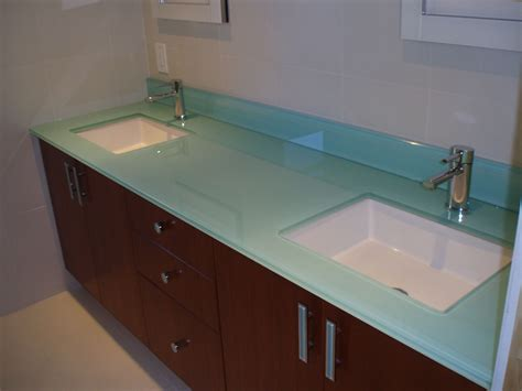 Glass Bathroom Countertops Sinks by Back Painted Glass Bathroom Countertop With Two White