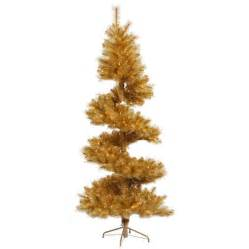 shop vickerman 7 ft pre lit spiral topiary gold artificial christmas tree with white