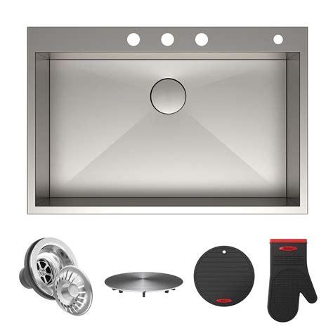 kitchen sink holes kraus pax drop in stainless steel 33 in 4 single 2743