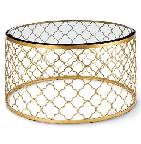 Gable Hollywood Regency Glass Gold Leaf Round Coffee Table