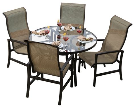 acadia 4 person sling patio dining set with glass top
