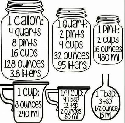 Measurement Measurements Cooking Conversions Cups Kitchen Gallons