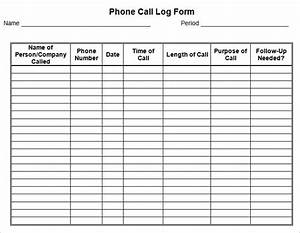 image gallery log form With call register template
