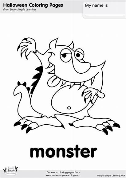 Monster Coloring Halloween Pages Super Flashcards Worksheets