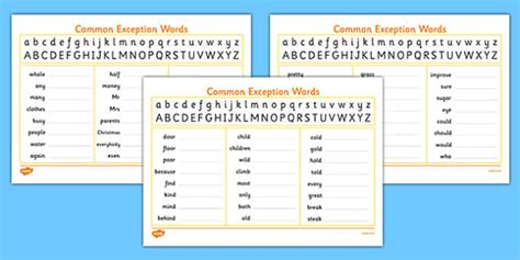 handwriting strip  year  common exception words practice