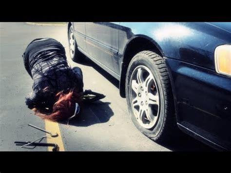 flat tire  girl youtube