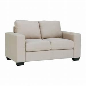 Canape 2 places tissu beige achat vente canape sofa for Canapé beige 2 places