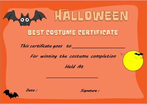 costume award certificates