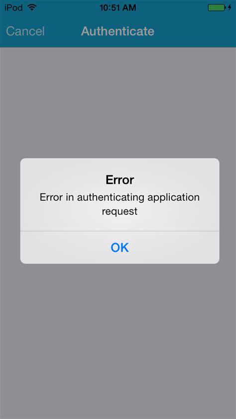 ios airwatch authentication failure stack overflow