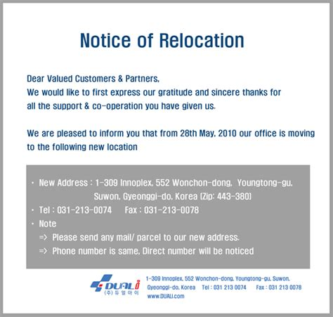 write moving office notice