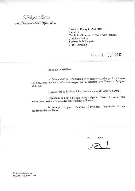 chef de cabinet du president de la republique lettre du chef de cabinet du pr 233 sident de la r 233 publique le de cuong pham phu