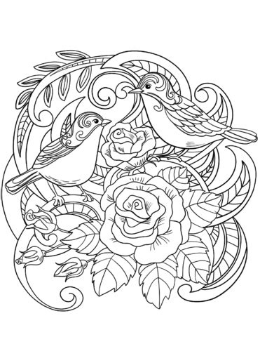 house sparrow  flowers coloring page  printable