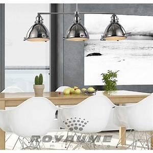 Luminaire suspendu de style industriel triple en metal chrome for Luminaire salle À manger contemporain pour deco cuisine