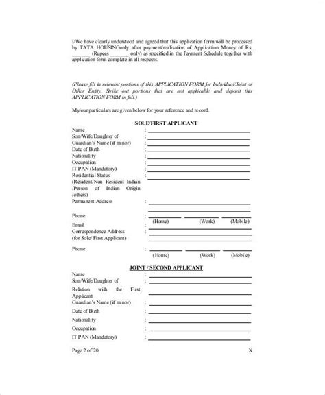 sample apartment application forms  ms word