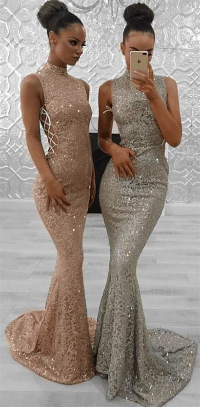 Dresses Prom Neck Mermaid Modest Lace Formal