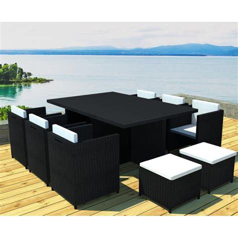 Salon de jardin encastrable 10 places en ru00e9sine tressu00e9e noire FLORIDE
