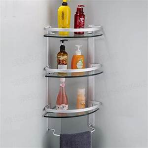 Aluminum 3 Tier Glass Shelf Shower Holder Bathroom ...