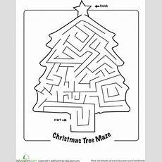 Christmas Maze  Worksheet Educationcom