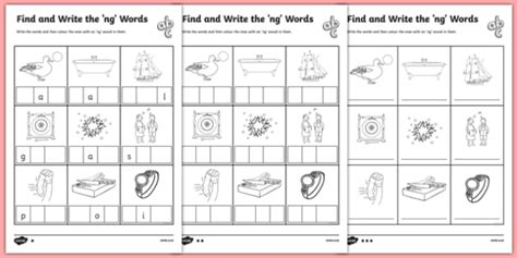 Find And Write The Ng Words Differentiated Worksheet