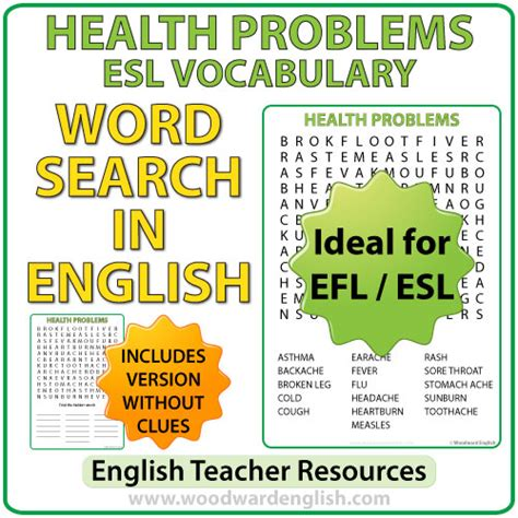 Health Problems In English  Esl Word Search  Woodward English