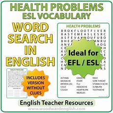 Health Problems In English  Esl Word Search  Woodward English