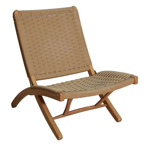 hans wegner style woven rope folding chair at 1stdibs