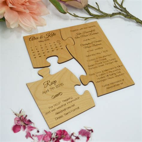 LIMITED EDITION Engraved Wooden Puzzle Wedding Invitation