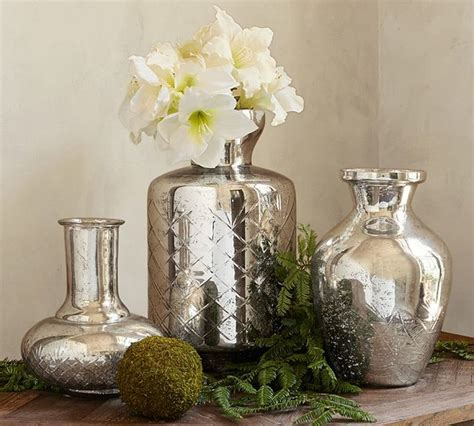 Kingsley Etched Mercury Glass Vases  Contemporary Vases