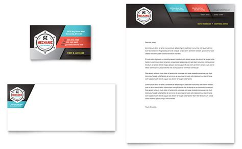 auto mechanic business card letterhead template design