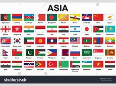 Set Icons Asian Countries Flags Stock Vector 144668612