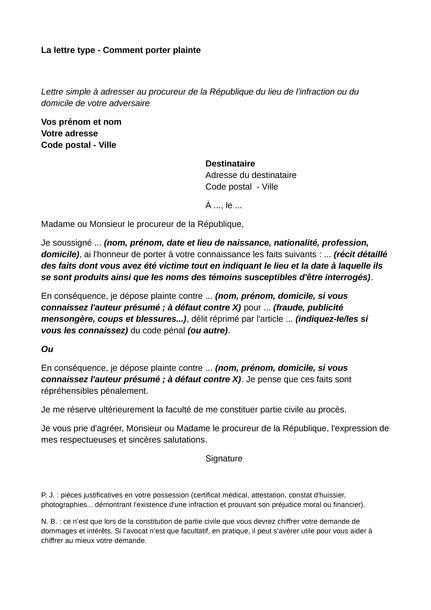 Porter Plainte Voiture by Lettre De Plainte Modele Lettre Plainte Calam O Camieg