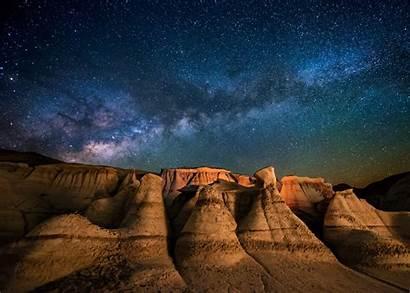 Night Mexico Landscape Starry Moonlight Way Milky