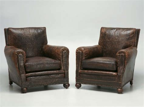 French Leather Club Chairs In Faux Crocodile Now In Stock