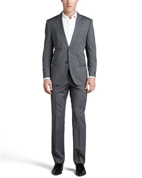 hugo tonal plaid suit gray