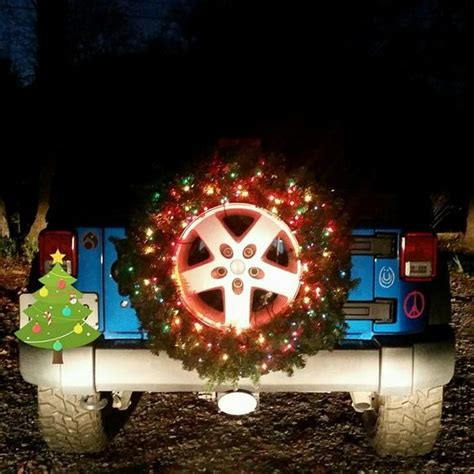 jeep christmas wreath spare jeep tire lighted christmas wreath preppy vehicles