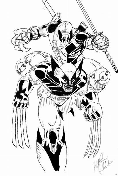 Deadpool Wolverine Coloring Vs Ink Deathstroke Drawing