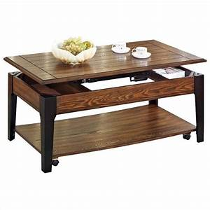 Acme furniture magus lift top brown oak black coffee for Dark wood lift top coffee table