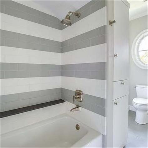 shower  striped tiles transitional bathroom