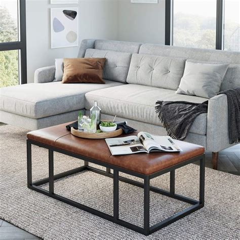 White rectangular ottoman coffee table with gold base: 51 Rectangle Coffee Tables that Stand Out with Style and Functionality